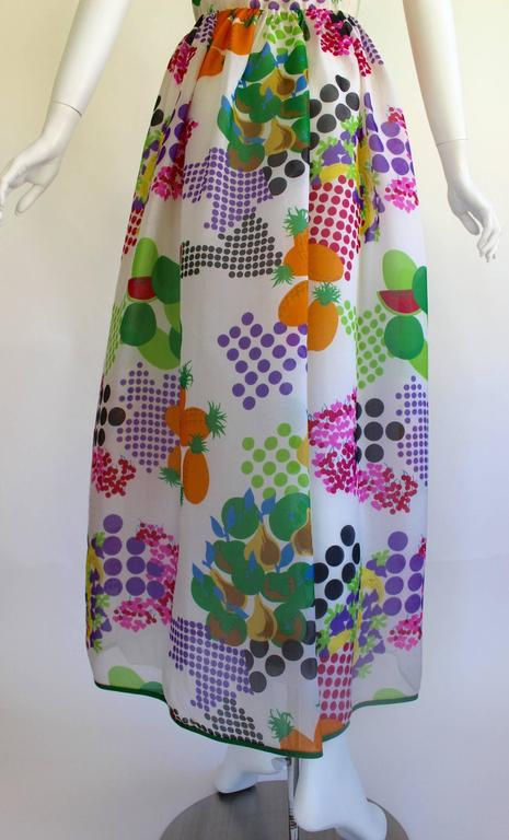 Nina Ricci Boutique Fruit and Dots Multicolor Print Silk Organza Dress, 1970s  For Sale 3