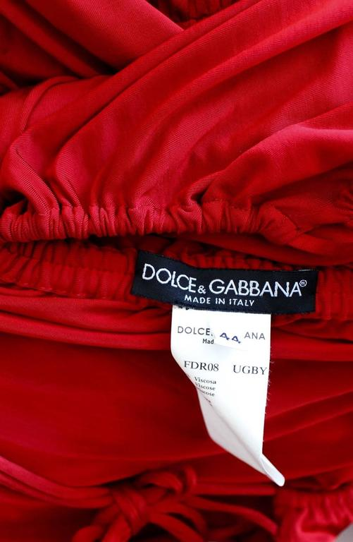 Dolce & Gabbana S/S 2003 Runway Ad Campaign Red Mini Dress Ruched Arm Bands 10