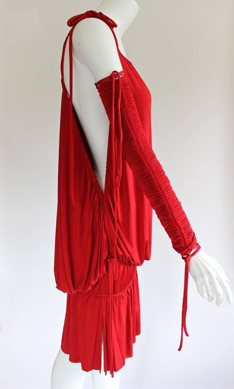 2003 S/S Dolce & Gabbana  Runway Ad Campaign Red Mini Dress Ruched Arm Bands For Sale 1