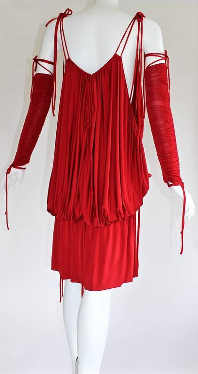 Women's 2003 S/S Dolce & Gabbana  Runway Ad Campaign Red Mini Dress Ruched Arm Bands For Sale
