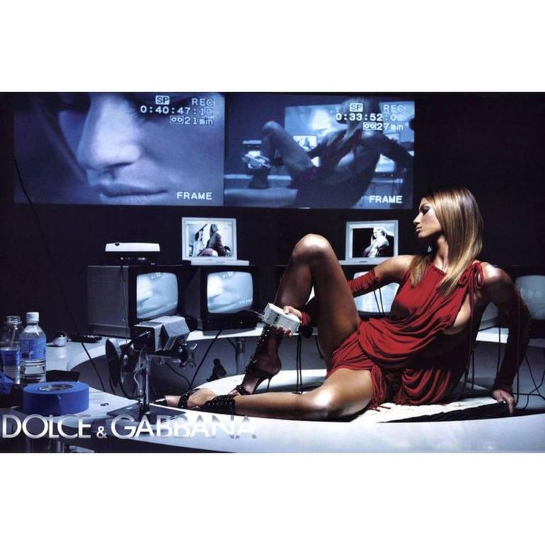 2003 S/S Dolce & Gabbana  Runway Ad Campaign Red Mini Dress Ruched Arm Bands For Sale 5