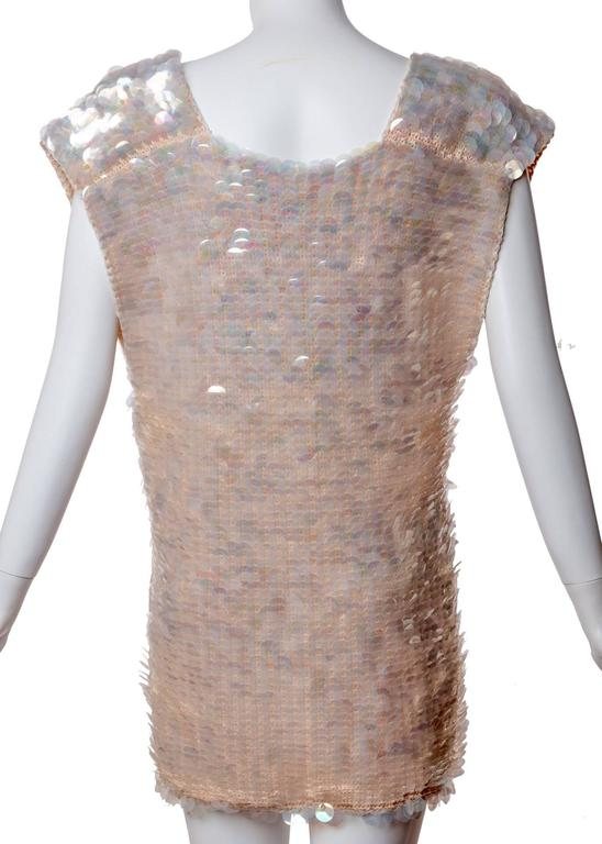 Women's 1960s Sleeveless Plunge Neck Iridescent Pink Paillette Tunic Top Mini Dress  For Sale