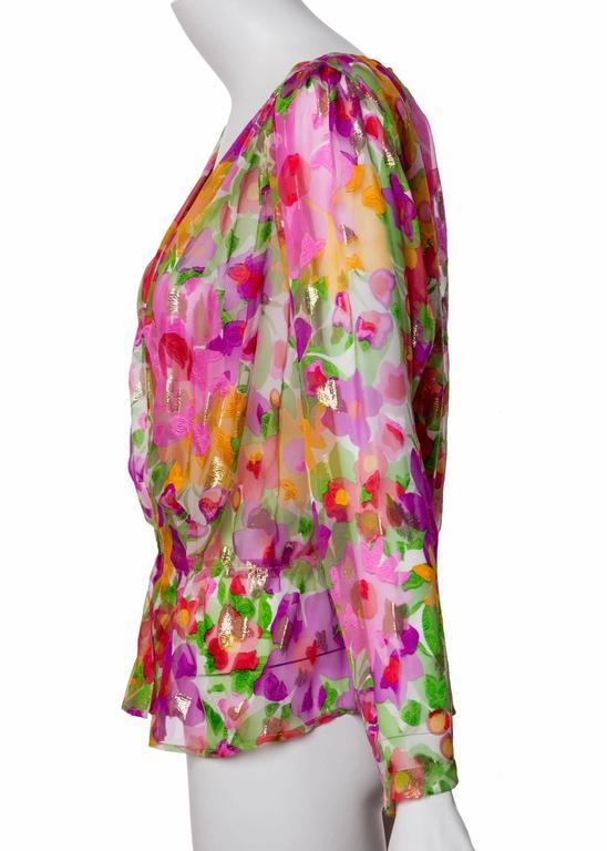 Vintage Yves Saint Laurent Sheer Metallic Floral Silk Plunge Neck Peplum Blouse 3