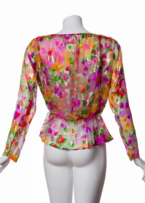 Vintage Yves Saint Laurent Sheer Metallic Floral Silk Plunge Neck Peplum Blouse In Excellent Condition For Sale In Boca Raton, FL