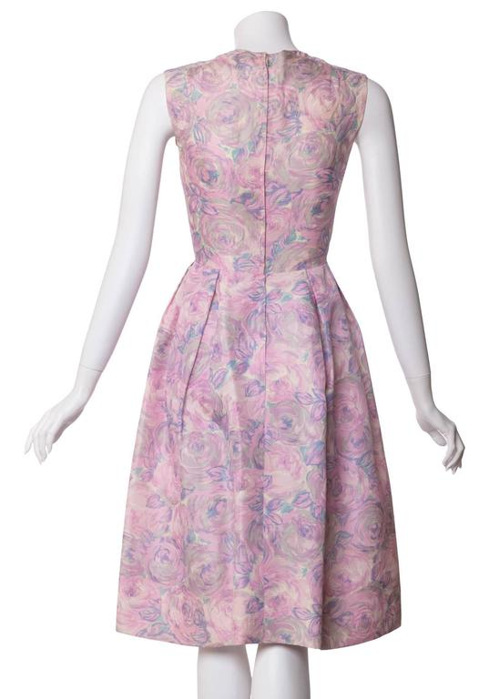1950s Hattie Carnegie Silk Fl Print Watercolor Nipped Waist Dress In Excellent Condition For