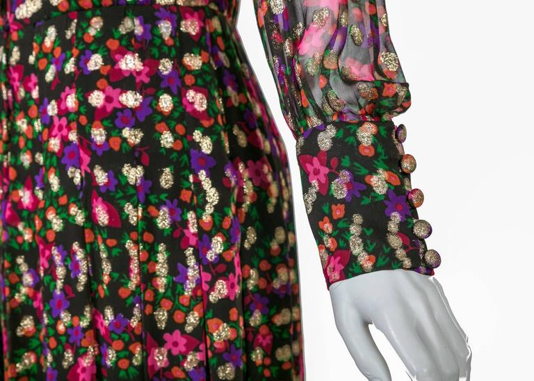 Chanel Haute Couture Vintage Silk Chiffon Dress no 4550, 1975   For Sale 2