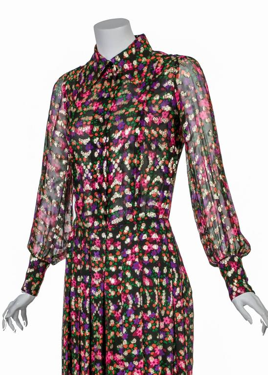 Chanel Haute Couture Vintage Silk Chiffon Dress no 4550, 1975   For Sale 3