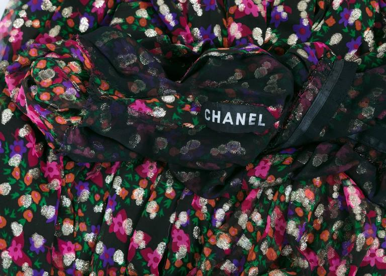 Chanel Haute Couture Vintage Silk Chiffon Dress no 4550, 1975   For Sale 4