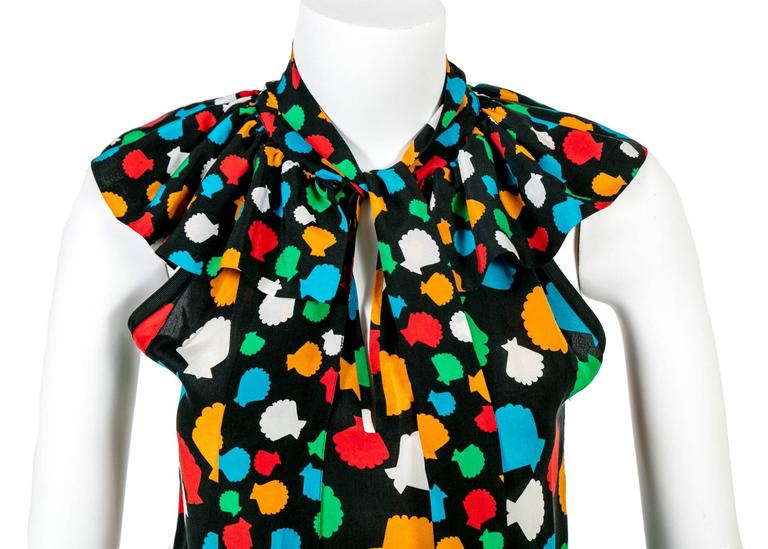 Yves Saint Laurent Vintage Documented YSL Silk Seashell Blouse With Sash, 1979  For Sale 2