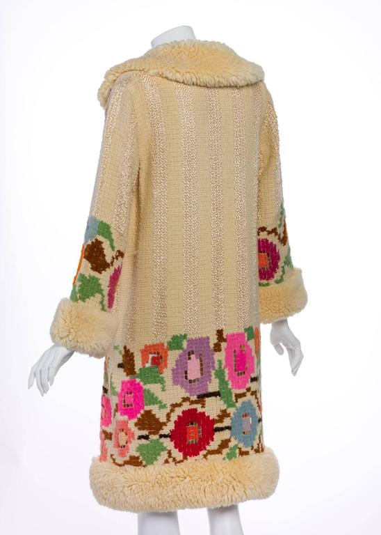 Women's French Art Deco Couture Ivory Wool and  Silk Floral Flapper Coat, 1920s  For Sale