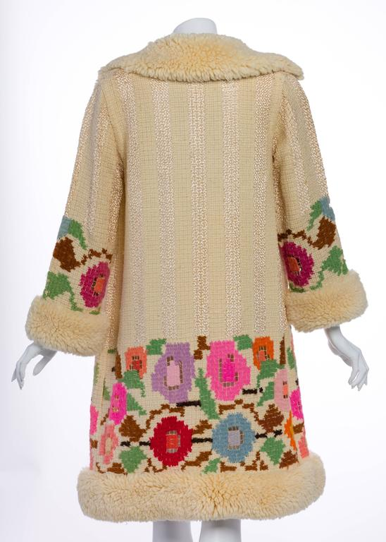 French Art Deco Couture Ivory Wool and  Silk Floral Flapper Coat, 1920s  For Sale 1