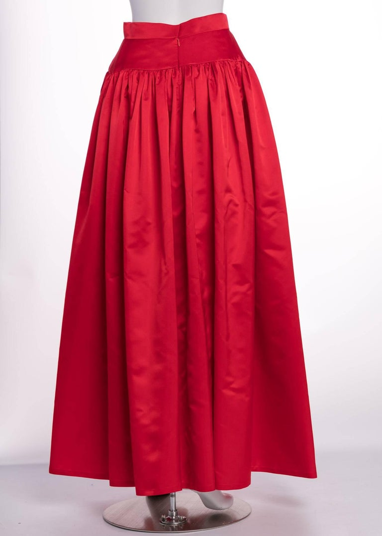 Vintage Bill Blass Crimson Red Satin Ball Gown Skirt at 1stdibs
