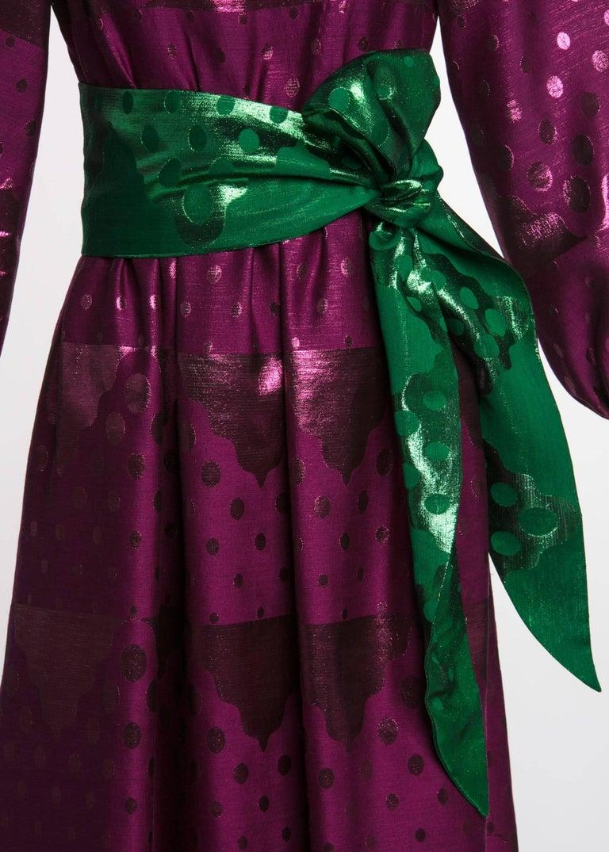 Women's 1960s Oscar de la Renta Silk Brocade Purple Emerald Metallic Belt Maxi Dress For Sale