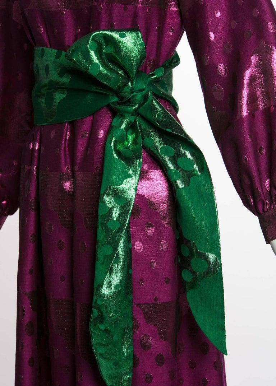 1960s Oscar de la Renta Silk Brocade Purple Emerald Metallic Belt Maxi Dress For Sale 1