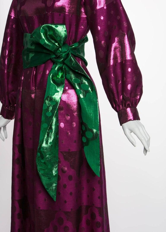 1960s Oscar de la Renta Silk Brocade Purple Emerald Metallic Belt Maxi Dress For Sale 2
