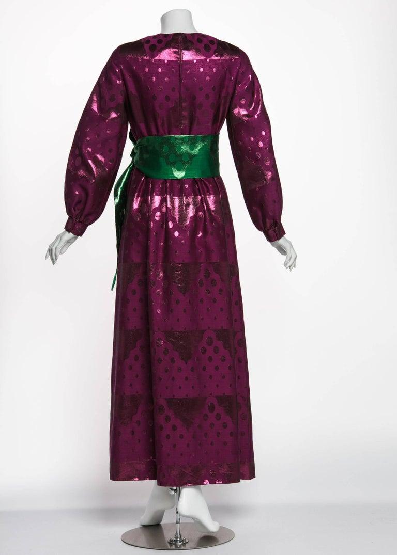 Green 1960s Oscar de la Renta Silk Brocade Purple Emerald Metallic Belt Maxi Dress For Sale