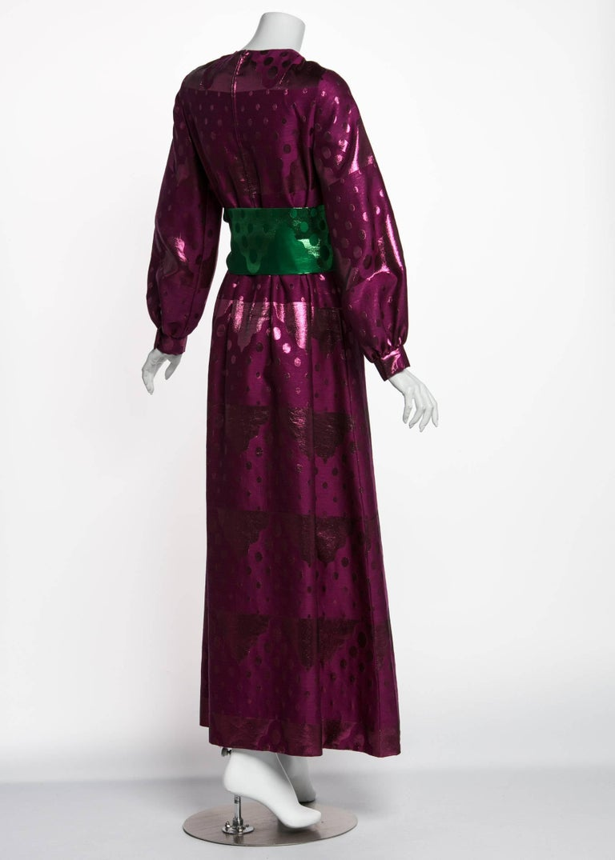 1960s Oscar de la Renta Silk Brocade Purple Emerald Metallic Belt Maxi Dress In Excellent Condition For Sale In Boca Raton, FL