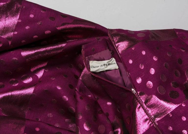 1960s Oscar de la Renta Silk Brocade Purple Emerald Metallic Belt Maxi Dress For Sale 3
