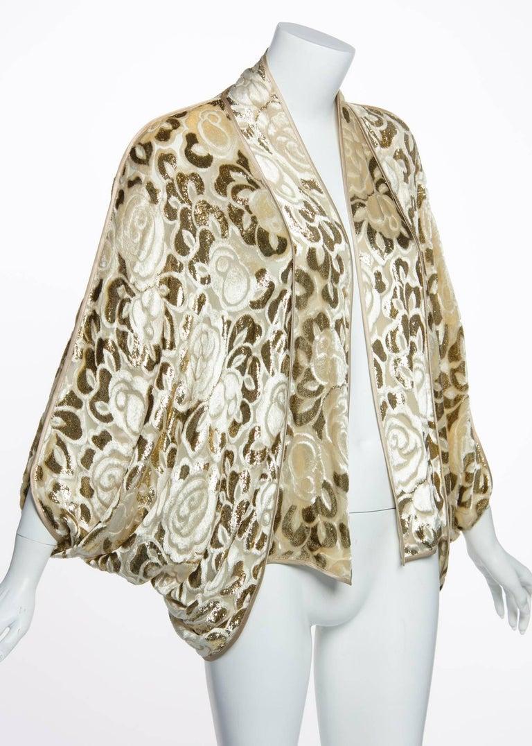 add9f0f747d9d Women s Janice Wainwright Floral Pattern Silk Devoré Velvet Cocoon Jacket  Top