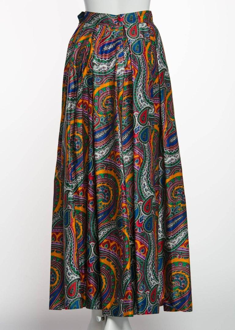 1970s Yves Saint Laurent High Waist Cotton Paisley Peasant Maxi Skirt  For Sale 3