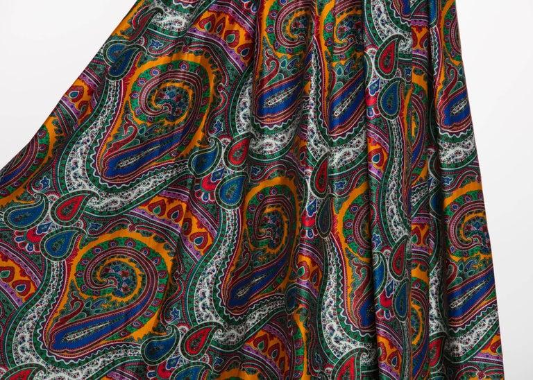 1970s Yves Saint Laurent High Waist Cotton Paisley Peasant Maxi Skirt  For Sale 1