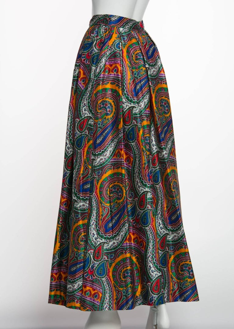1970s Yves Saint Laurent High Waist Cotton Paisley Peasant Maxi Skirt  For Sale 4