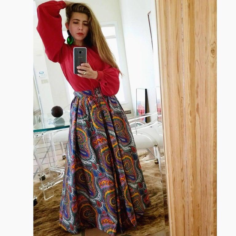 Black 1970s Yves Saint Laurent High Waist Cotton Paisley Peasant Maxi Skirt  For Sale