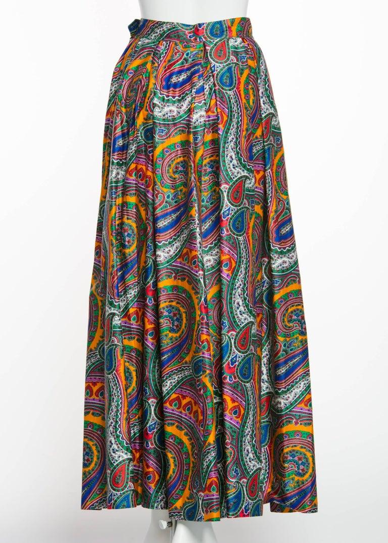 Women's 1970s Yves Saint Laurent High Waist Cotton Paisley Peasant Maxi Skirt  For Sale