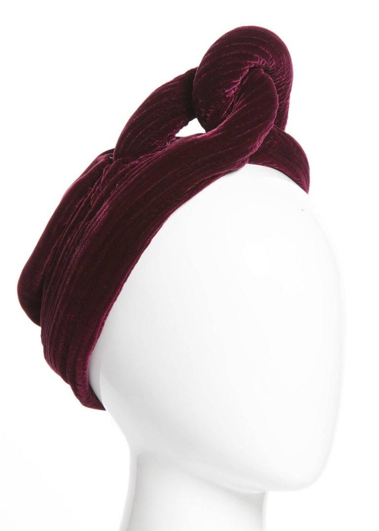 1930s Vintage Velvet Bordeaux Sculptural Turban Hat 2