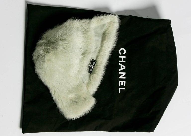 Women's 2013 Chanel Fall Runway Silver Green Fox Fur Helmut Hat For Sale