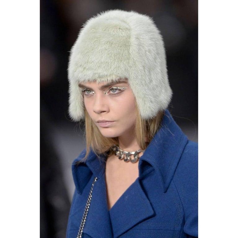 2013 Chanel Fall Runway Silver Green Fox Fur Helmut Hat For Sale 1