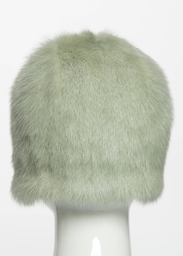 2013 Chanel Fall Runway Silver Green Fox Fur Helmut Hat In Excellent Condition For Sale In Boca Raton, FL