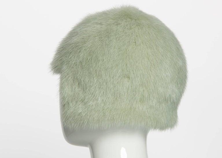 Chanel Fall 2013 Runway Anna Wintour Bob Silver Green Fox Fur Helmut Hat  3