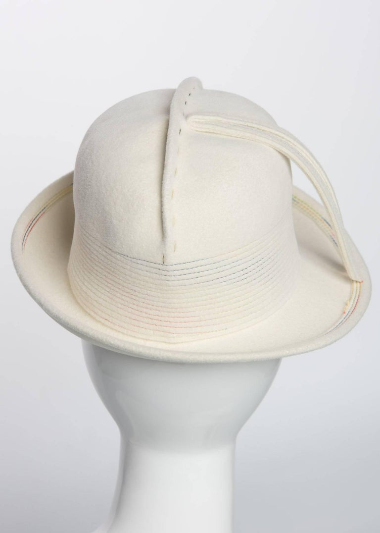 f2ff5c2d8ca Women's 1960s Yves Saint Laurent YSL Sculpted Ivory Felt Fedora Hat For Sale
