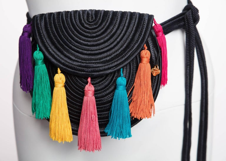 1990s Yves Saint Laurent Black Passementerie Tassel Shoulder Belt Bag YSL  For Sale 3