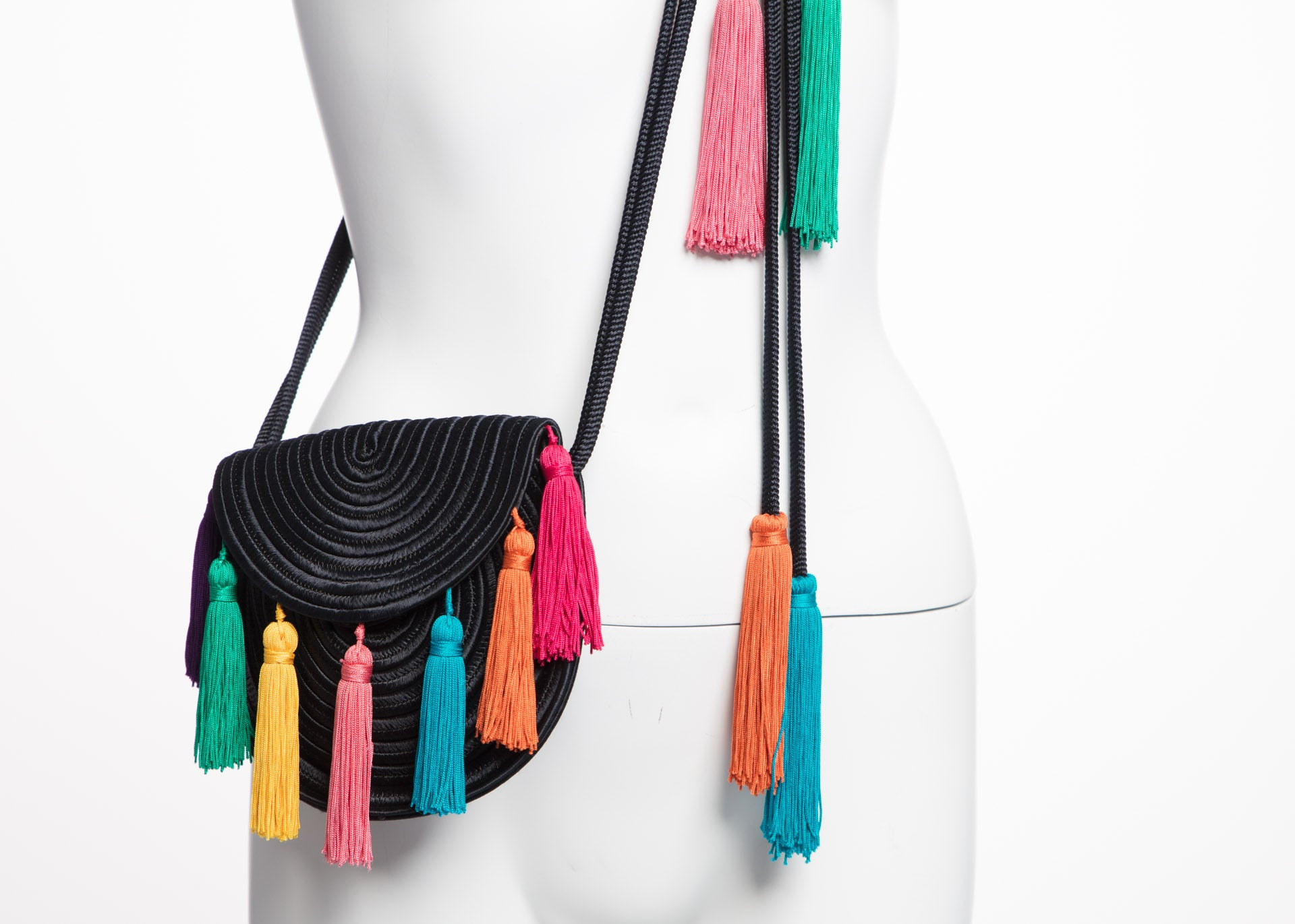 32d9f4e6d76a 1990s Yves Saint Laurent Black Passementerie Tassel Shoulder Belt Bag YSL  at 1stdibs