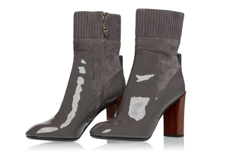 2015/2016  Louis Vuitton Brand New Sold Out  Gray Suede and Patent Leather Boots For Sale 1
