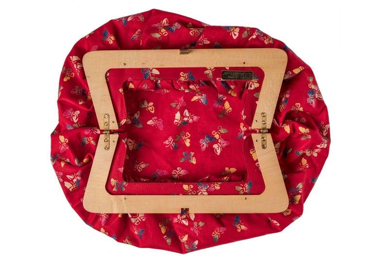 Women's Bottega Veneta Vintage Red Butterfly Print Wood Frame Clutch For Sale