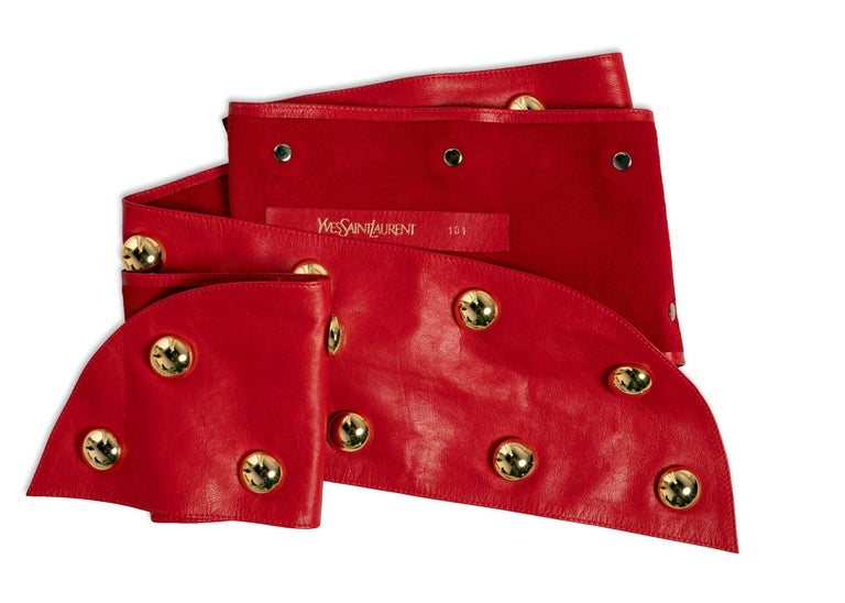Vintage Yves Saint Laurent Red Leather Gold Stud Sash Belt Documented 1989 YSL For Sale 2