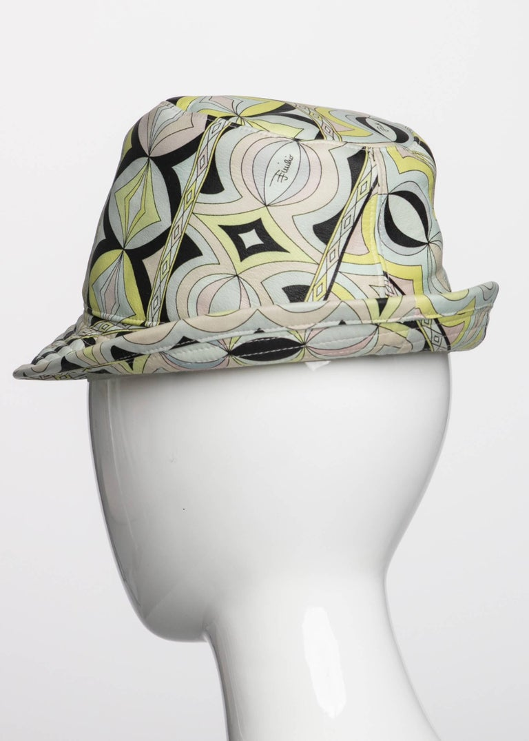 Emilio Pucci Sorbet Colors Printed Leather Fedora Hat For
