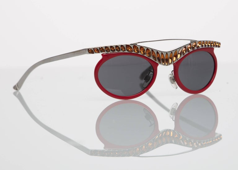 2b20a2eb3eec 2012 Prada Runway Red Cat-Eye Amber Crystal Sunglasses In Excellent  Condition For Sale In