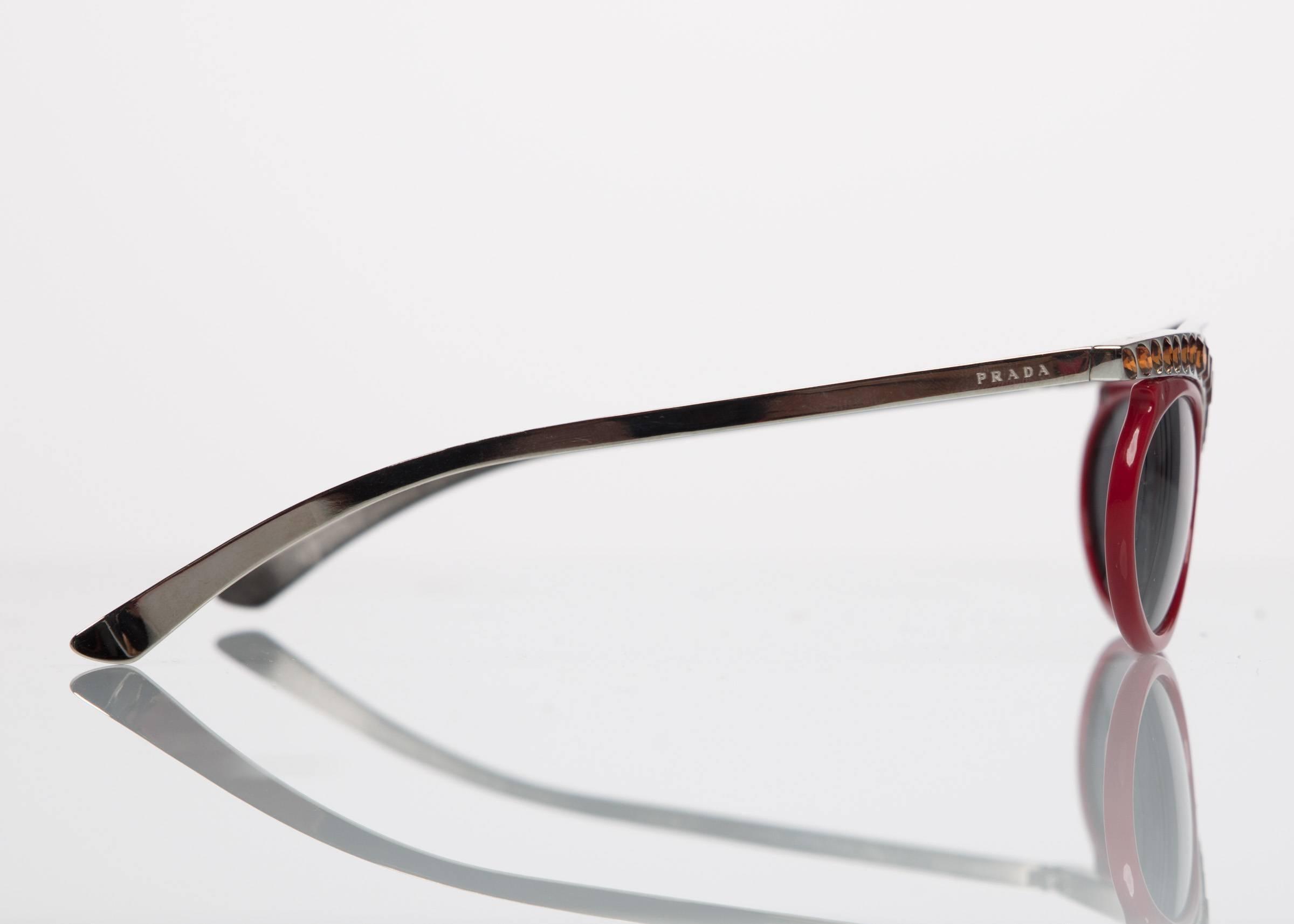 fc1d2561fd87 ... shop womens 2012 prada runway red cat eye amber crystal sunglasses for  sale ce65a 1fd21