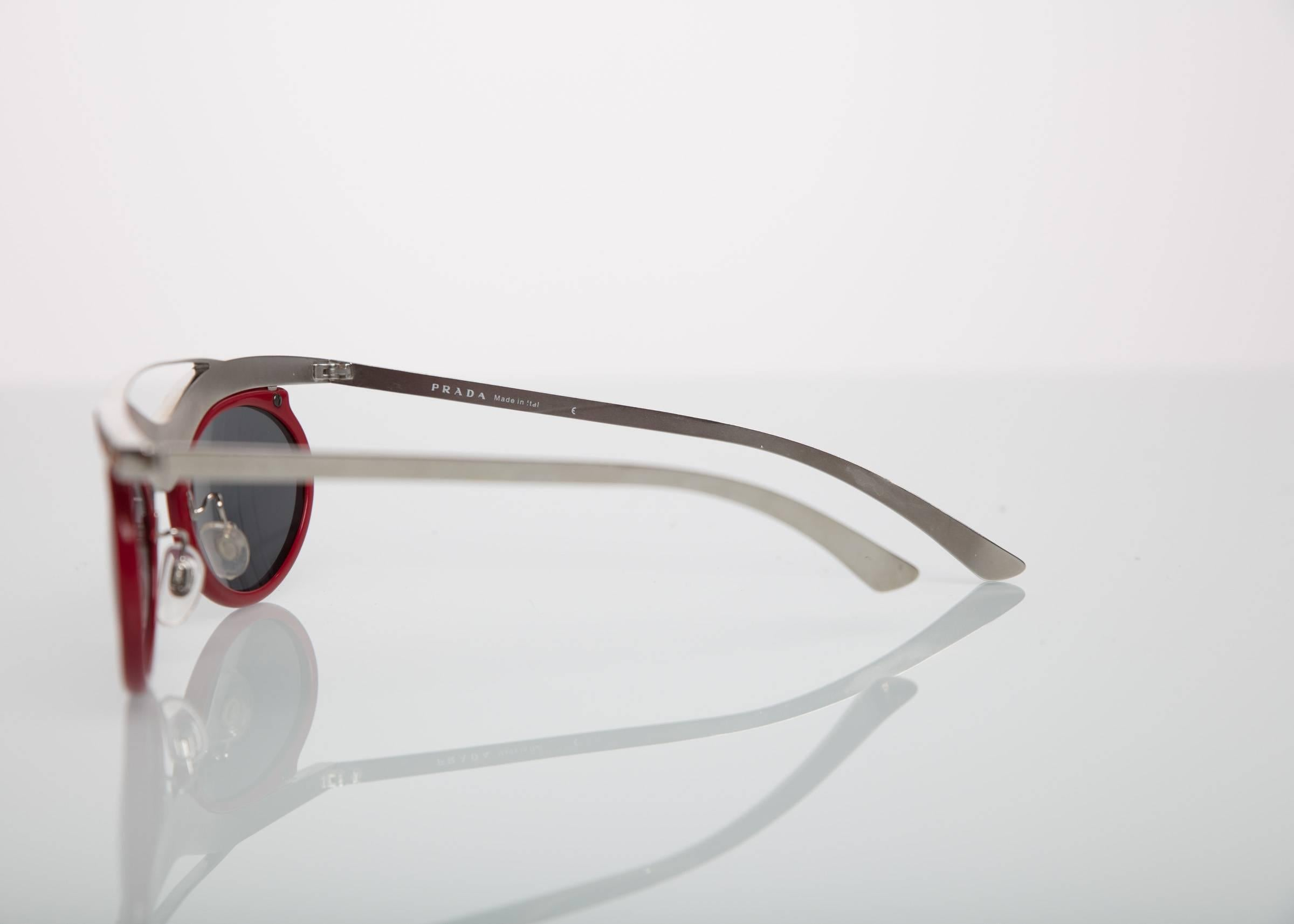 405a1bb6c50e where to buy 2012 prada runway red cat eye amber crystal sunglasses for sale  2 bdb25