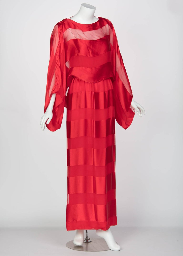 Bill Blass Red Silk Sheer Striped Maxi Column Dress Draped Overlay, 1970s  In Excellent Condition For Sale In Boca Raton, FL