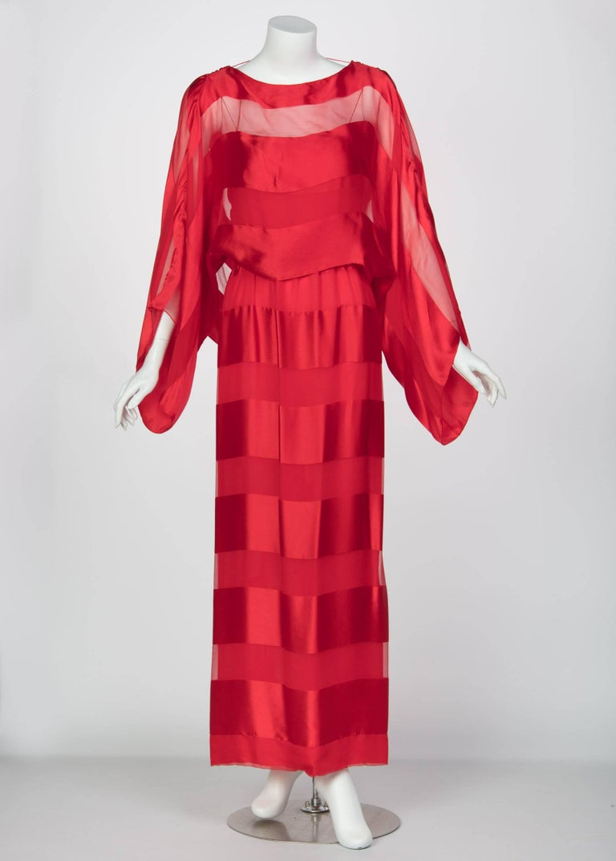 Women's Bill Blass Red Silk Sheer Striped Maxi Column Dress Draped Overlay, 1970s  For Sale