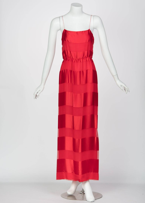Bill Blass Red Silk Sheer Striped Maxi Column Dress Draped Overlay, 1970s  For Sale 1