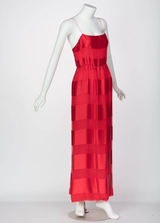 Bill Blass Red Silk Sheer Striped Maxi Column Dress Draped Overlay, 1970s  For Sale 2