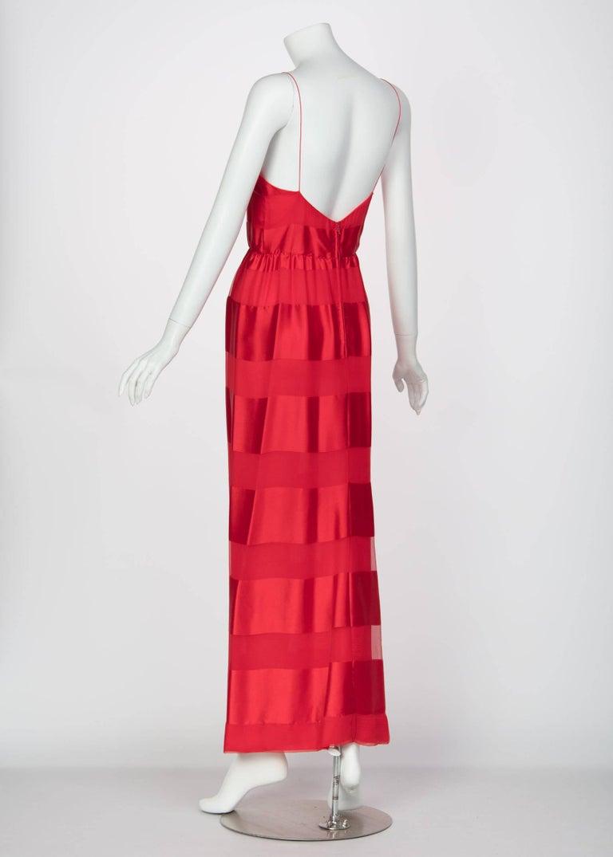 Bill Blass Red Silk Sheer Striped Maxi Column Dress Draped Overlay, 1970s  For Sale 3