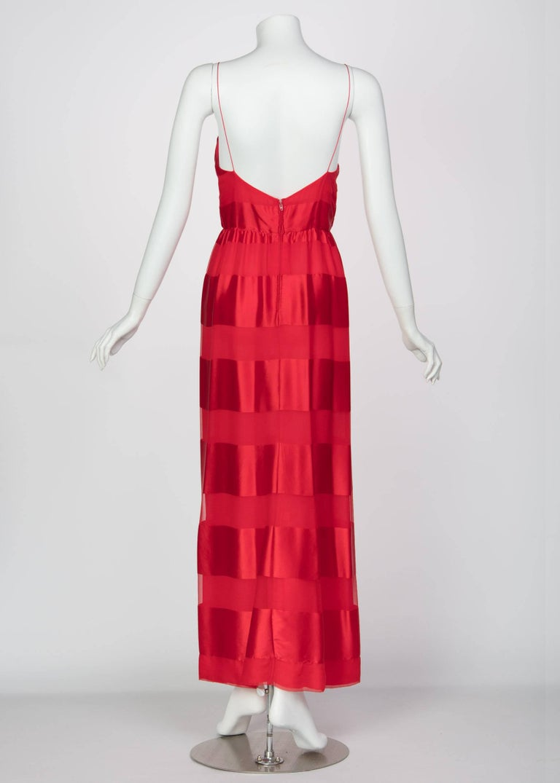 Bill Blass Red Silk Sheer Striped Maxi Column Dress Draped Overlay, 1970s  For Sale 4