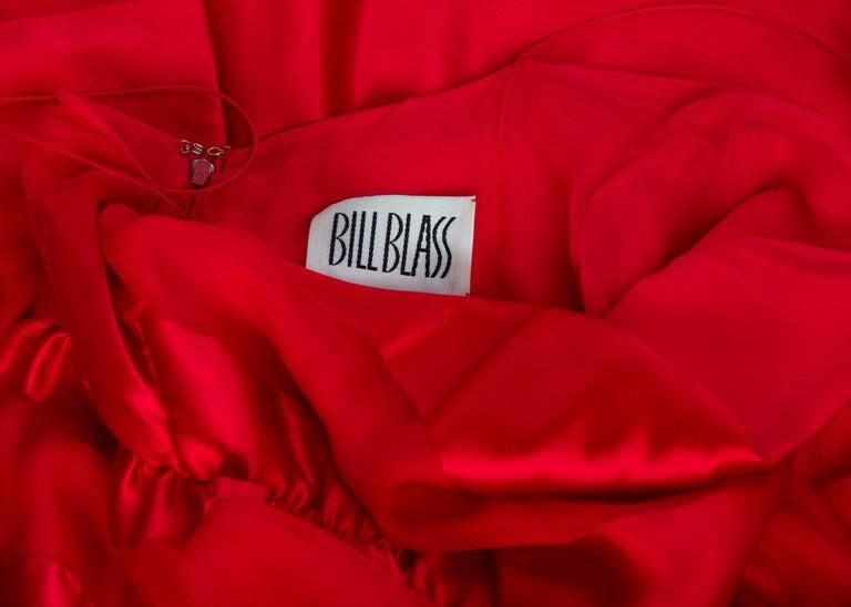 Bill Blass Red Silk Sheer Striped Maxi Column Dress Draped Overlay, 1970s  For Sale 5